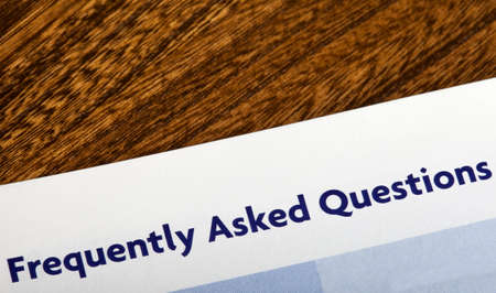 frequently: Frequently Asked Questions heading in an information booklet.