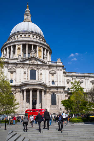 st   pauls cathedral: LONDON, UK - MAY 4TH 2016: A view of the magnificent St. Pauls Cathedral basking in the London sunshine, on 4th May 2016.