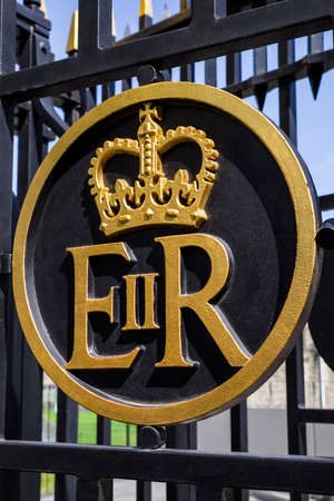 queen elizabeth ii: The Queen Elizabeth II Royal Crest on a gateway at the Tower of London.