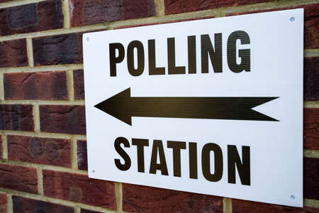local election: A sign outside a Polling Station on election day in the UK.