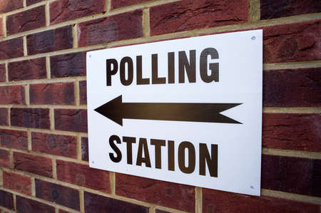 mayoral: A sign outside a Polling Station on election day in the UK.