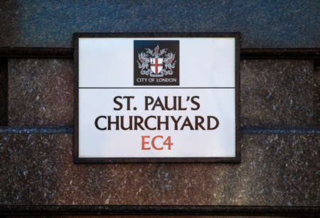 churchyard: A street sign for St. Pauls Churchyard in the City of London. Editorial