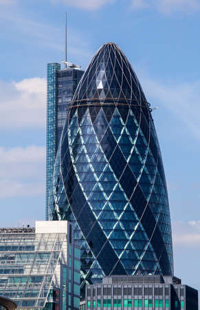 30 st mary axe: A view of 30 St. Mary Axe, otherwise known as The Gherkin in the City of London.