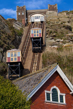 hastings: A view of the East Hill Railway connecting the clifftop of the Hastings Country Park with the seafront in Hastings, Sussex.
