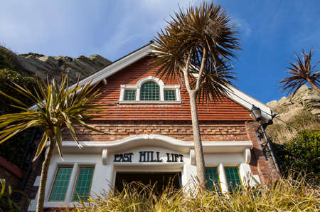 The main entrance to the East Hill Lift in Hastings which takes visitors up to the Clifftop where Hastings Country Park is situated. Editorial