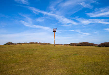 hastings: The VE Day fire beacon in Hastings Country Park Nature Reserve in Sussex. Editorial