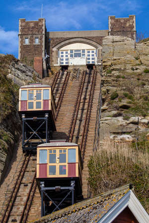 country park: A view of the East Hill Railway connecting the clifftop of the Hastings Country Park with the seafront in Hastings, Sussex.
