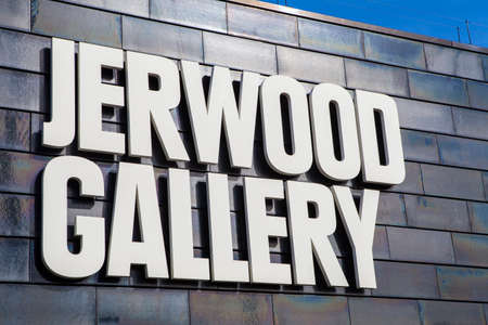 county side: HASTINGS, UK - APRIL 1st 2016: The sign on the exterior of the Jerwood Gallery which showcases the best of modern and contemporary British art in Hastings, on 1st April 2016.