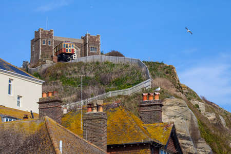 country park: A view of the East Hill Railway on the clifftop of the Hastings Country Park in Hastings, Sussex.