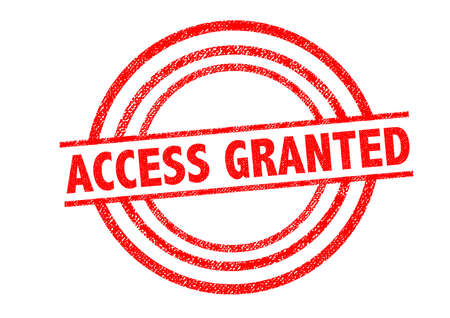 granting: ACCESS GRANTED Rubber Stamp over a white background.