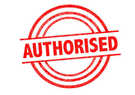 access granted: AUTHORISED (British spelling) Rubber Stamp over a white background. Stock Photo