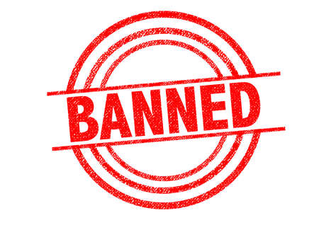 banning the symbol: BANNED Rubber Stamp over a white background. Stock Photo