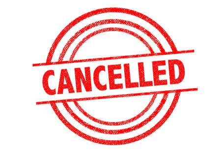 cancelled: CANCELLED (British spelling) Rubber Stamp over a white background. Stock Photo