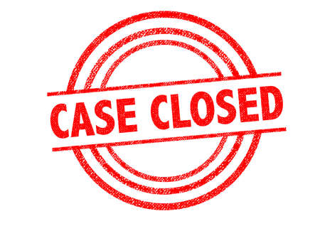 shutting: CASE CLOSED Rubber Stamp over a white background.