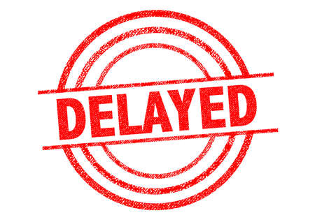 disrupted: DELAYED red Rubber Stamp over a white background.