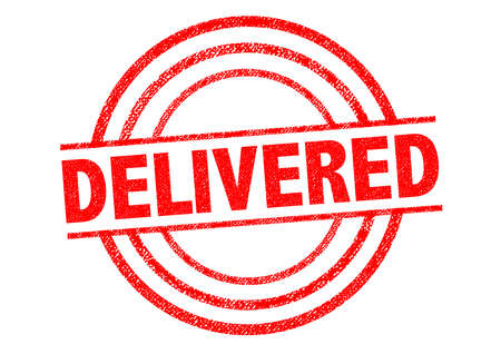 delivering: DELIVERED red Rubber Stamp over a white background. Stock Photo