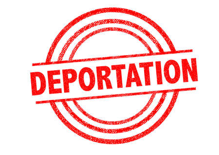 deportation: DEPORTATION Rubber Stamp over a white background.