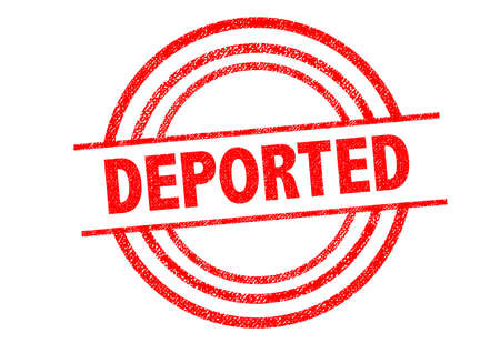 expel: DEPORTED Rubber Stamp over a white background.
