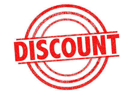 rebate: DISCOUNT red Rubber Stamp over a white background.