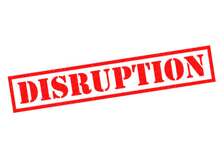 disruption: DISRUPTION red Rubber Stamp over a white background. Stock Photo