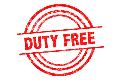 duty: DUTY FREE Rubber Stamp over a white background.