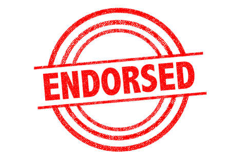 ENDORSED Rubber Stamp over a white background.
