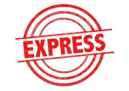 mailed: EXPRESS red Rubber Stamp over a white background.