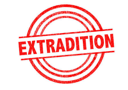 expel: EXTRADITED Rubber Stamp over a white background.