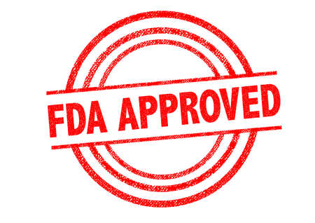 controlled: FDA APPROVED Rubber Stamp over a white background.
