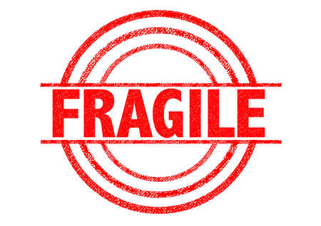 posted: FRAGILE red Rubber Stamp over a white background.