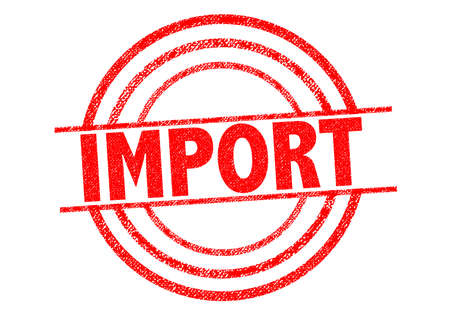 transported: IMPORT red Rubber Stamp over a white background. Stock Photo