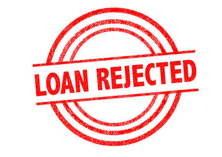 LOAN REJECTED Rubber Stamp over a white background.