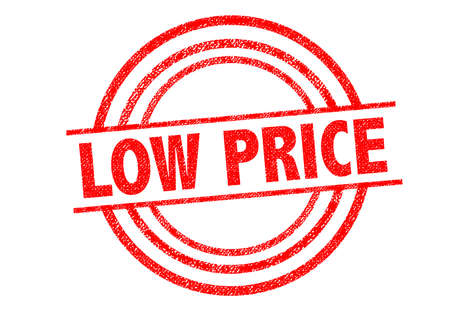 priced: LOW PRICE Rubber Stamp over a white background.