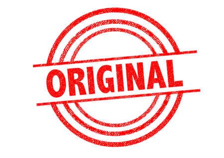 legitimate: ORIGINAL Rubber Stamp over a white background. Stock Photo