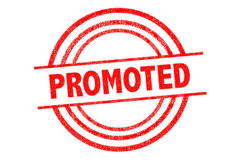promoted: PROMOTED  Rubber Stamp over a white background. Stock Photo