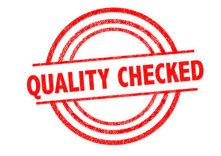 qc: QUALITY CHECKED Rubber Stamp over a white background.
