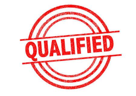 qualify: QUALIFIED Rubber Stamp over a white background.