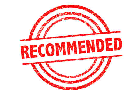 suggested: RECOMMENDED Rubber Stamp over a white background. Stock Photo
