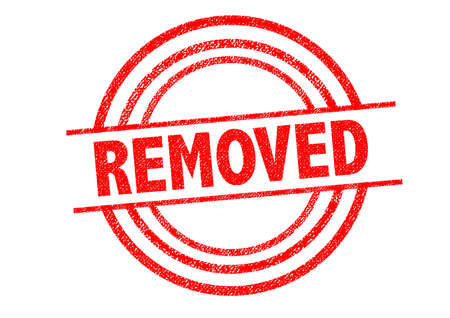 eliminated: REMOVED Rubber Stamp over a white background. Stock Photo