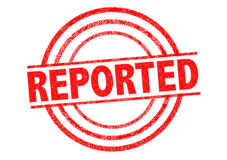 reported: REPORTED red Rubber Stamp over a white background.