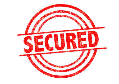 secured: SECURED Rubber Stamp over a white background.