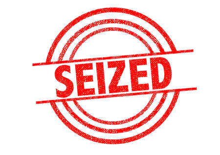 to seize: SEIZED Rubber Stamp over a white background.