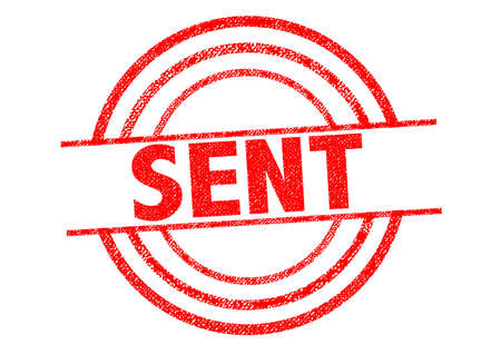 sent: SENT red Rubber Stamp over a white background.