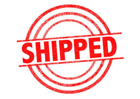 shipped: SHIPPED red Rubber Stamp over a white background. Stock Photo