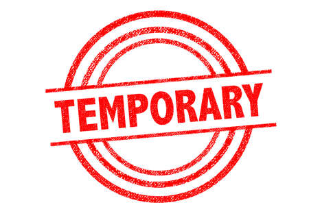 temporary: TEMPORARY Rubber Stamp over a white background.