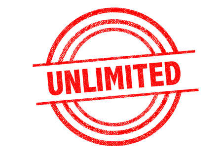 unlimited: UNLIMITED Rubber Stamp over a white background.