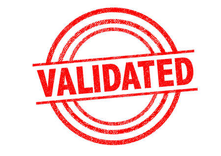 certify: VALIDATED Rubber Stamp over a white background. Stock Photo