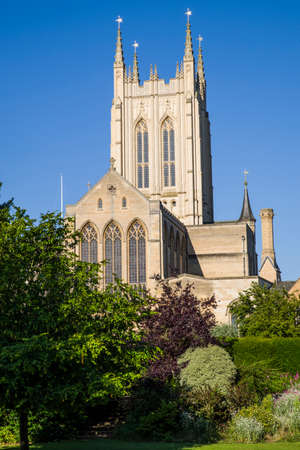 gothic revival: A view of the historic St. Edmundsbury Cathedral in Bury St. Edmunds, Suffolk.