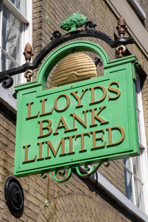 bury: BURY ST EDMUNDS, UK - JULY 19TH 2016: A traditional Lloyds Bank sign in Bury St. Edmunds, on 19th July 2016. Editorial