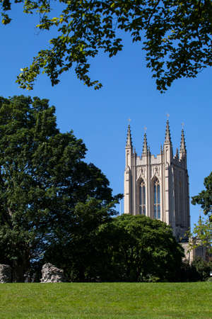 bury: A view of the historic St. Edmundsbury Cathedral from Abbey Gardens in Bury St. Edmunds, Suffolk. Stock Photo